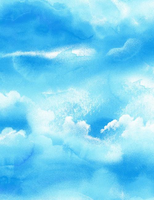 Cotton Print Yarmulkes Sky - BLUE