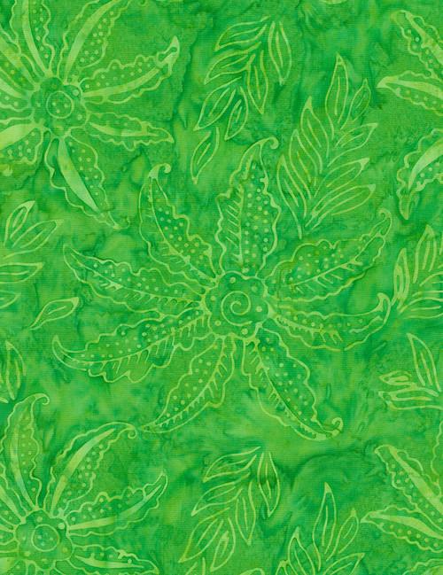 Cotton Print Yarmulkes Scalloped Flower Batik - LIME