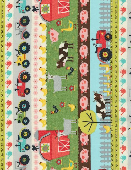 Cotton Print Yarmulkes Farm Stripe - MULTI