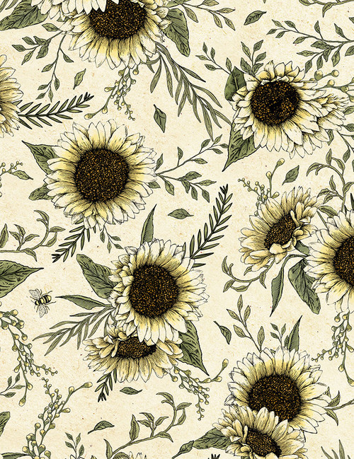 Cotton Print Yarmulkes Sunflowers - NATURAL