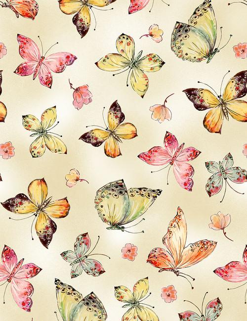 Cotton Print Yarmulkes Allover Butterflies - CREAM