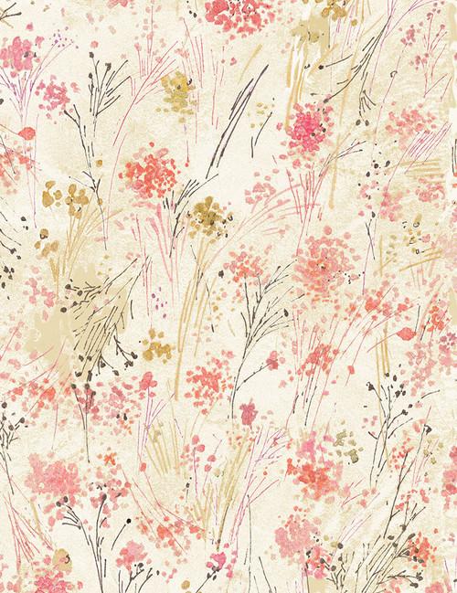 Cotton Print Yarmulkes Watercolor Buds - CREAM