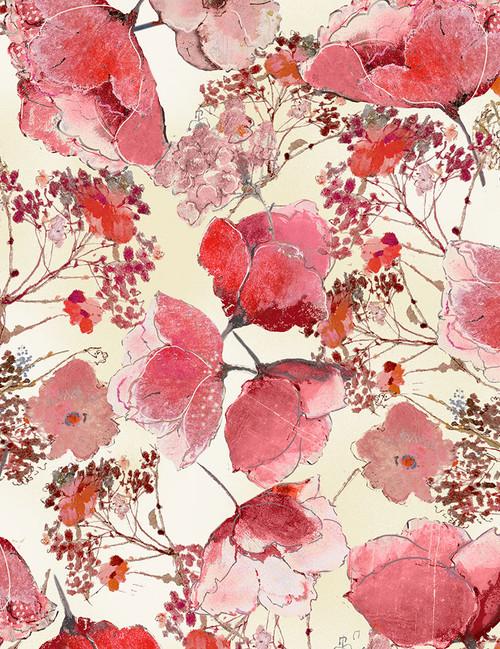 Cotton Print Yarmulkes Delicate Flower Blooms - CREAM