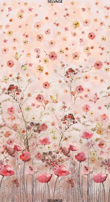 "Cotton Print Yarmulkes 24"" Beautiful Flower Panel - PINK"