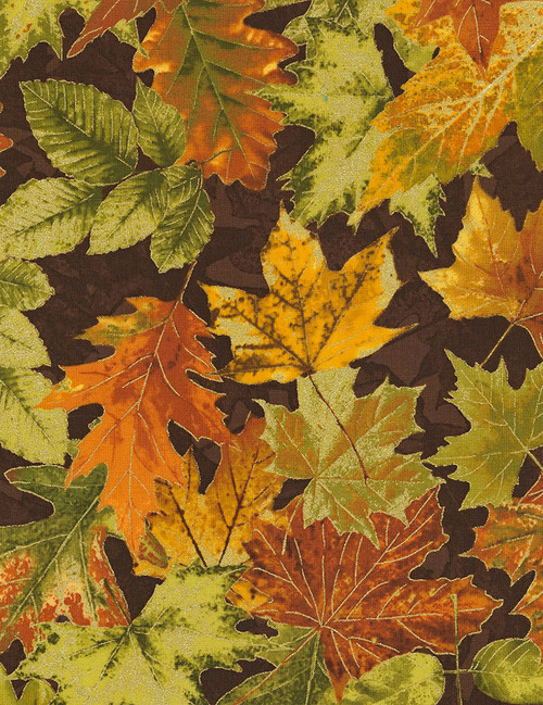 Cotton Print Yarmulkes Allover Autumn Leaves - BROWN