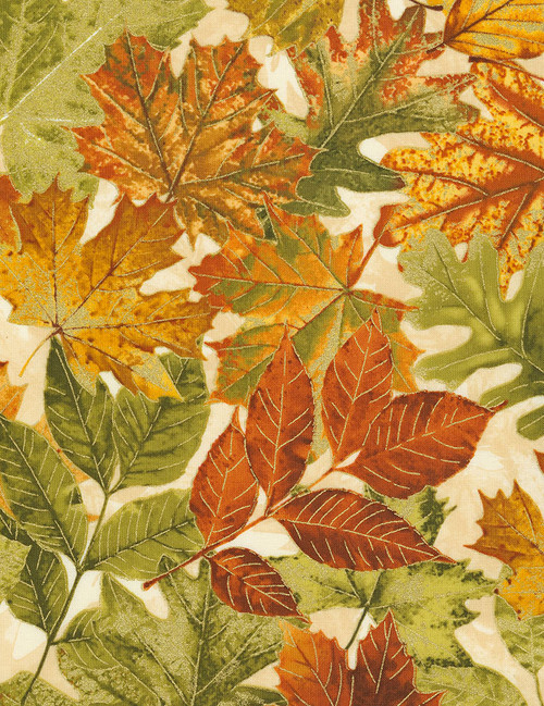 Cotton Print Yarmulkes Allover Autumn Leaves - CREAM