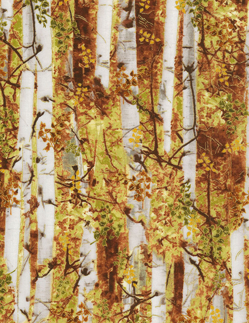 Cotton Print Yarmulkes Fall Birch Trees - RUST