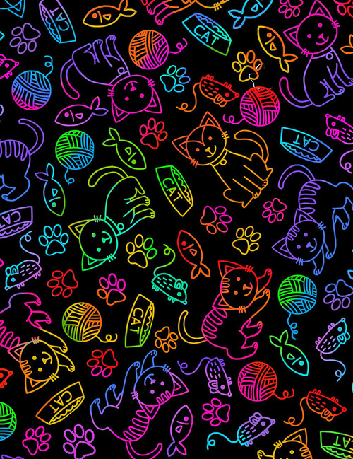 Cotton Print Yarmulkes Cat & Mouse Rainbow Outline - BRIGHT