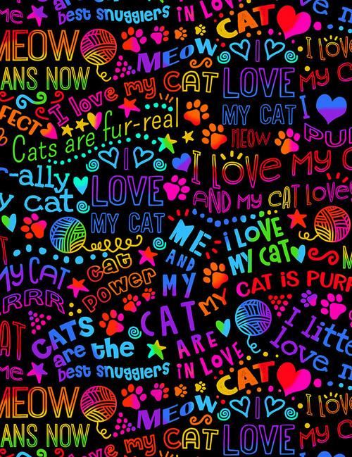 Cotton Print Yarmulkes I Love My Cat Rainbow Outline - BRIGHT
