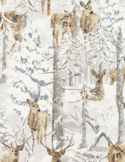 Cotton Print Yarmulkes Deer in Snow - SNOW
