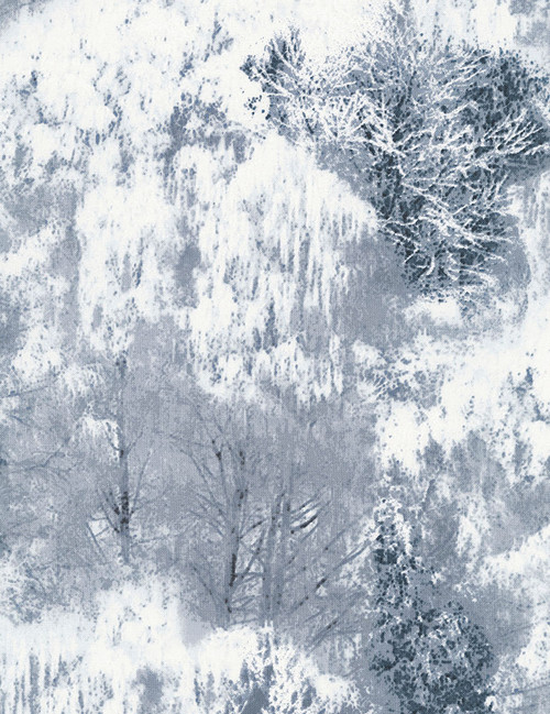 Cotton Print Yarmulkes Snow Covered Trees - SMOKE