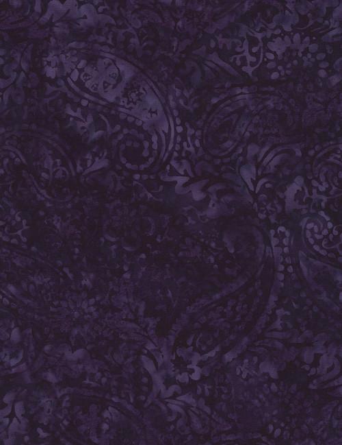 Cotton Print Yarmulkes Botanical Paisley Batik - EGGPLANT