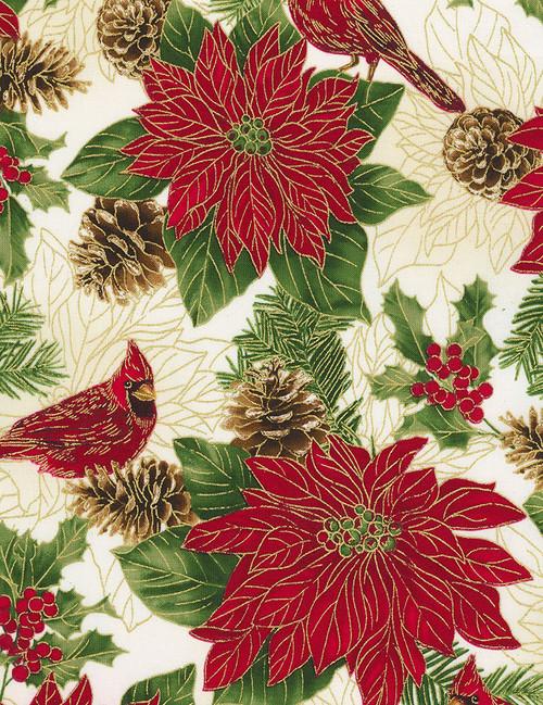 Cotton Print Yarmulkes Allover Poinsettias and Pinecones - CREAM