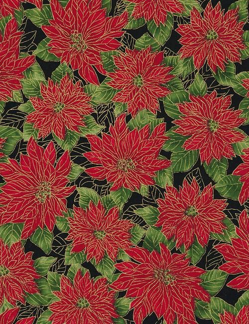 Cotton Print Yarmulkes Allover Poinsettias - BLACK