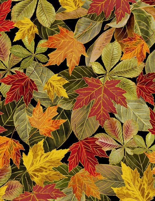 Cotton Print Yarmulkes Fall Leaves - MULTI