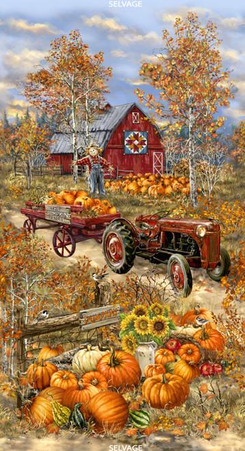 "Cotton Print Yarmulkes 24"" Pumpkin Patch Panel - MULTI"