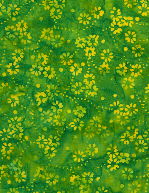 Cotton Print Yarmulkes Delicate Flowers Batik - LIME