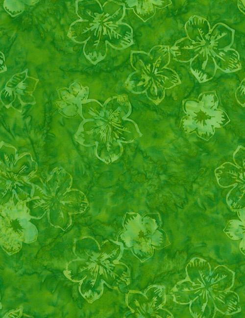 Cotton Print Yarmulkes Hibiscus Batik - GREEN