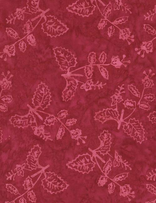 Cotton Print Yarmulkes Delicate Plant Batik - LIPSTICK