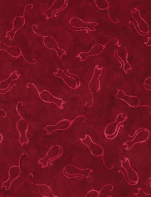 Cotton Print Yarmulkes Cat Outline Batik - CRANBERRY