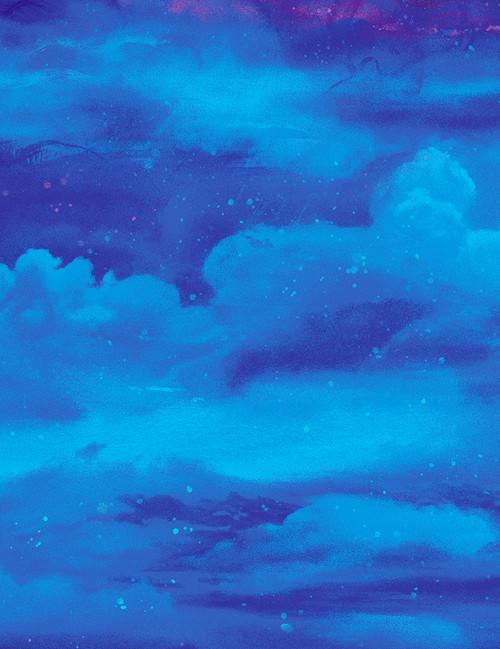 Cotton Print Yarmulkes Misty Sky - AQUA