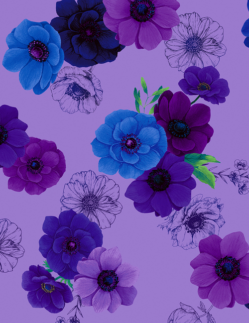 Cotton Print Yarmulkes All Over Flowers - VIOLET