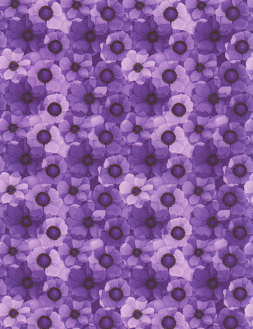Cotton Print Yarmulkes Packed Flowers - PURPLE