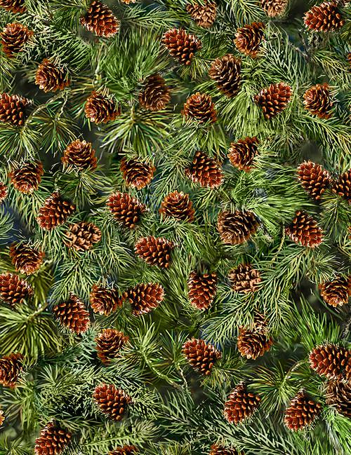 Cotton Print Yarmulkes Pine Cones - PINE