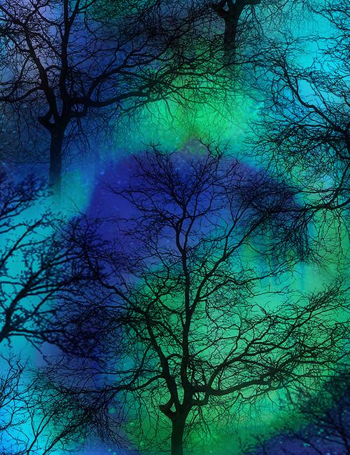 Cotton Print Yarmulkes Northern Lights Trees - COBALT