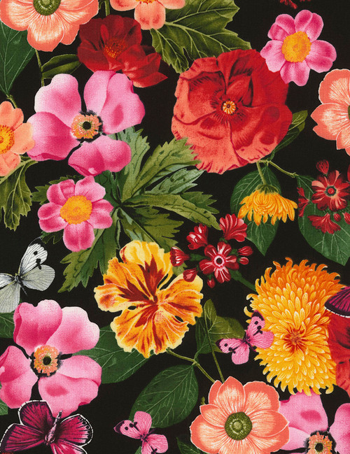 Cotton Print Yarmulkes All Over Flower Arrangement - BLACK