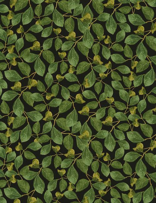Cotton Print Yarmulkes Leaves - BLACK