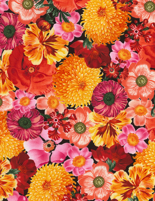 Cotton Print Yarmulkes Packed Flowers Nature - MULTI