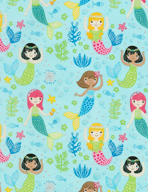 Cotton Print Yarmulkes Mermaids - AQUA
