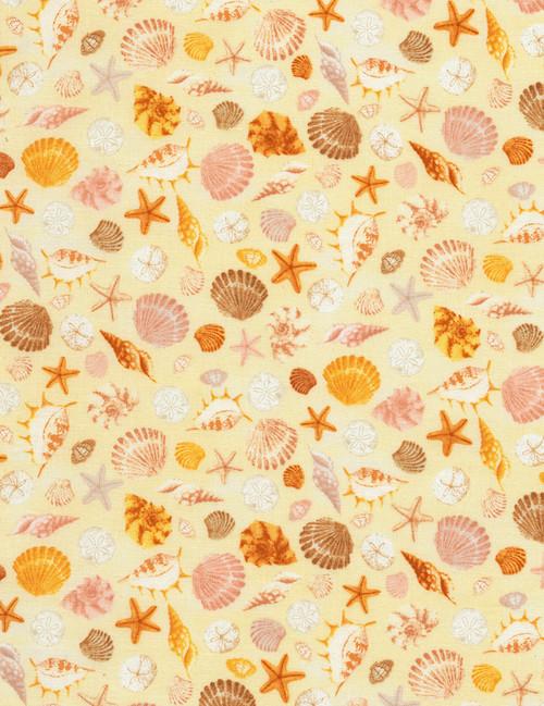 Cotton Print Yarmulkes Seashells - SAND