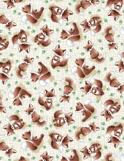 Cotton Print Yarmulkes Foxes - TAUPE