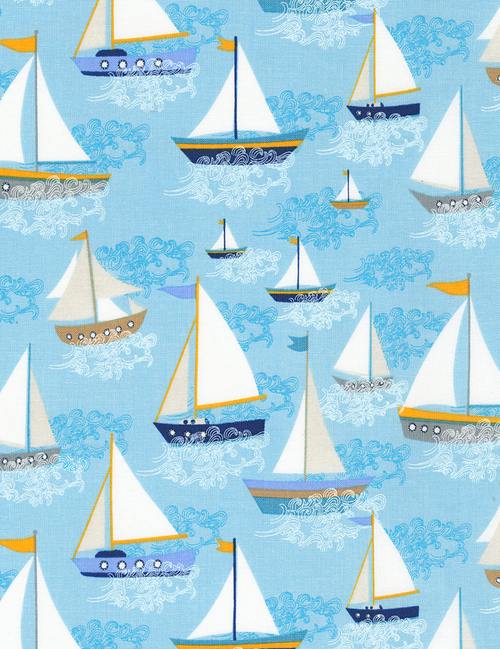 Cotton Print Yarmulkes Sailboats - SEA