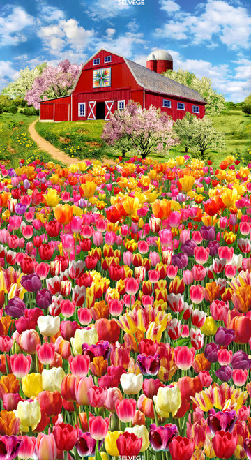 "Cotton Print Yarmulkes 24"" Tulip Farm Panel - MULTI"