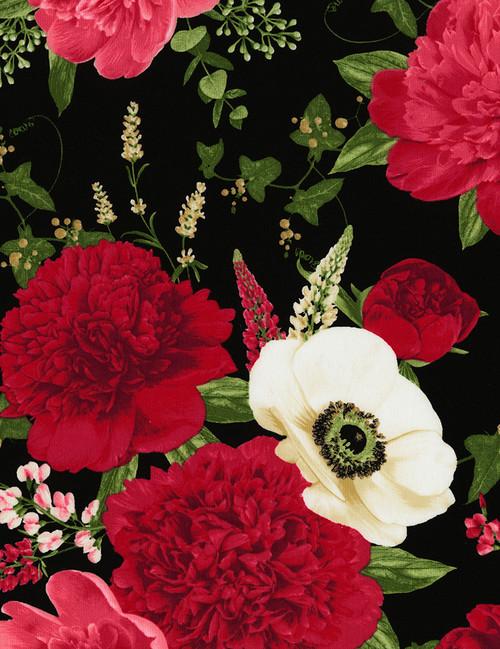 Cotton Print Yarmulkes Peony and Anemone - BLACK