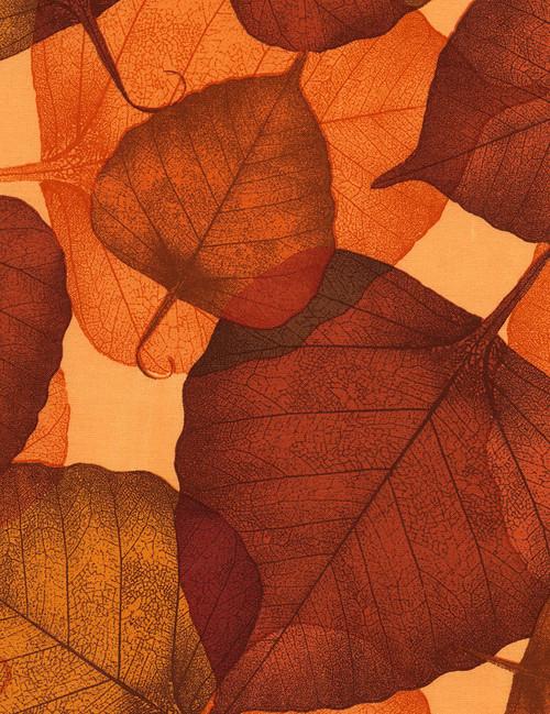 "Cotton Print Yarmulkes 108"" Leaves - RUSSET"