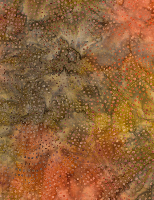 Cotton Print Yarmulkes Dotty Spiral Batik - RUST