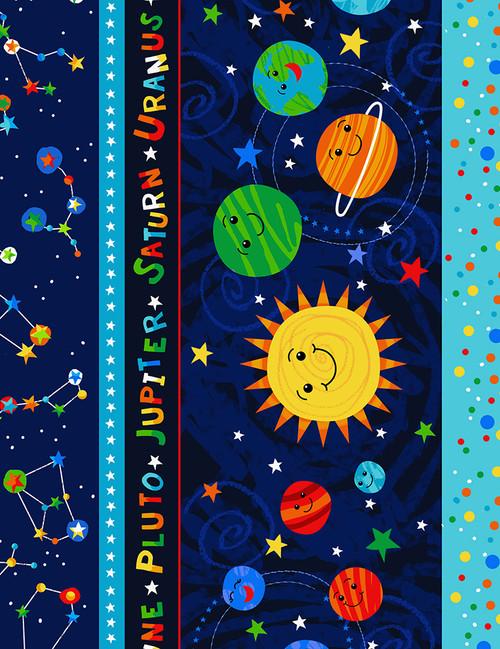 Cotton Print Yarmulkes Solar System Stripe - NAVY