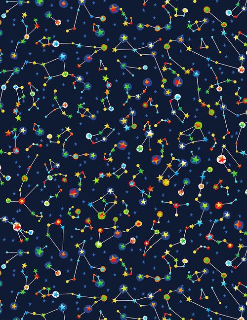 Cotton Print Yarmulkes Constellations - NAVY