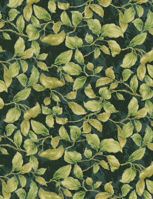 Cotton Print Yarmulkes Leaves - FOREST