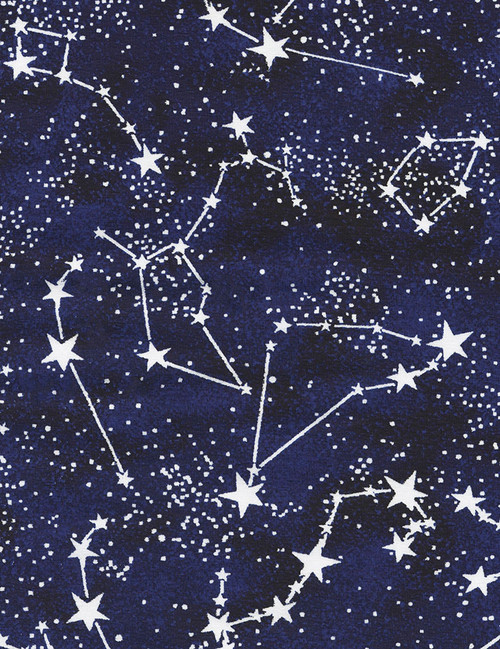 Cotton Print Yarmulkes Constellations Knit - MIDNIGHT
