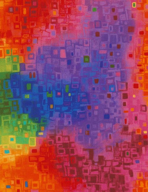 Cotton Print Yarmulkes Abstract Geo - BRIGHT