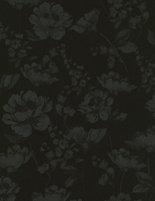 Cotton Print Yarmulkes Whispy Flowers - JET