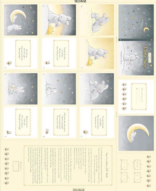 "Cotton Print Yarmulkes 36"" Book Panel - YELLOW"