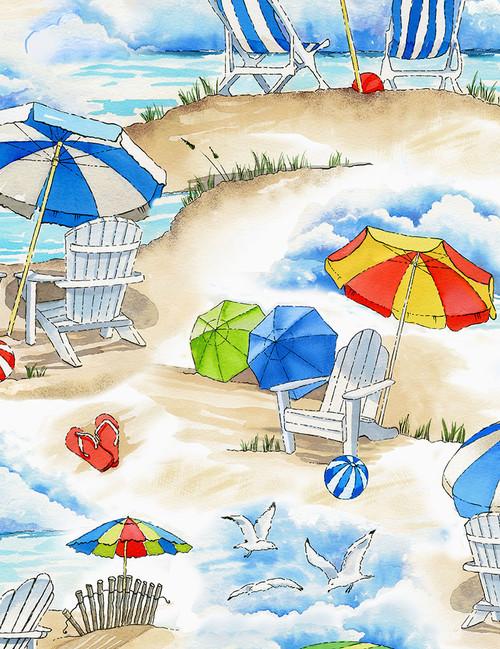 Cotton Print Yarmulkes Beach Vacation - SAND