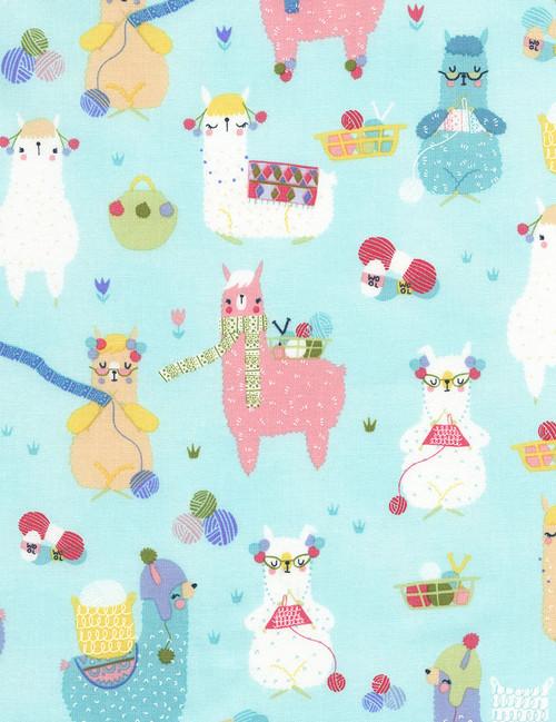 Cotton Print Yarmulkes Knitting Alpacas - AQUA