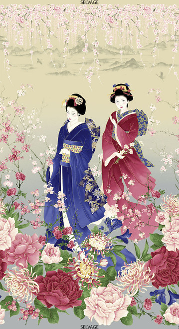 "Cotton Print Yarmulkes 24"" Sakura Panel - STONE"